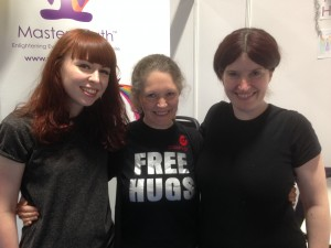 Debra hugs Louise and Helen